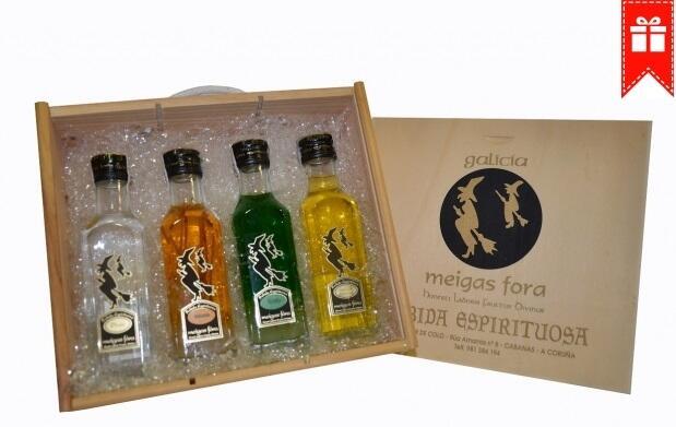 Caja con 4 botellas licor gallego 14,90€