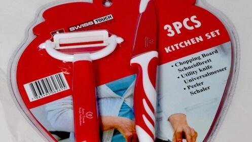 Set de 3 piezas con cuchillo, pelador y tabla Swiss Touch