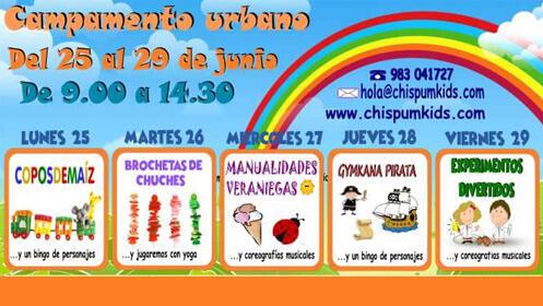 Campamento urbano para niños del 25 al 29 de junio