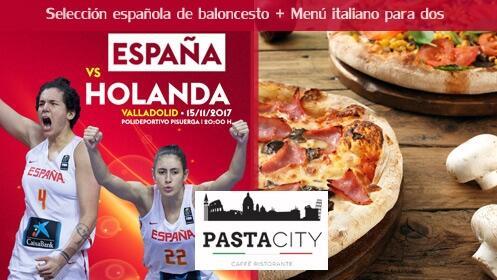 Menú de pizza para 2 y opción con 2 entradas selección española de baloncesto