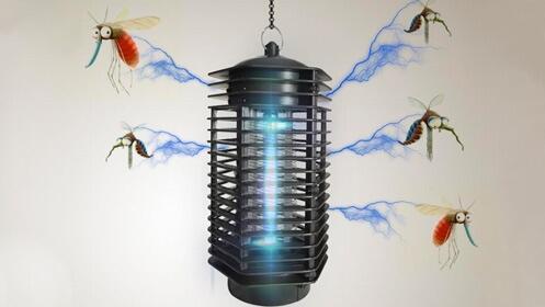Lámpara antimosquitos y matamoscas
