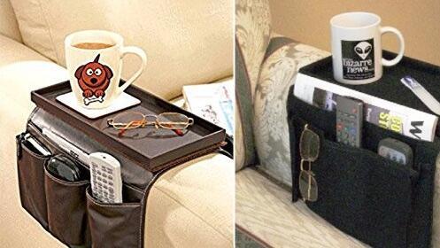 Organizador de mandos y bandeja para sofá
