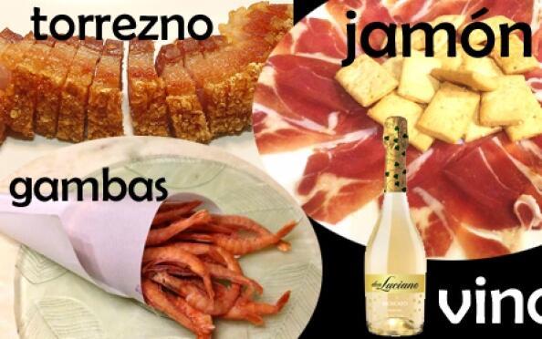 Jamón, torrezno, cucurucho de gambas y botella de vino