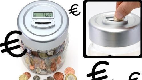 Hucha con contador de monedas digital ¡recogida desde hoy!