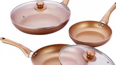 Pack de 3 sartenes antiadherentes con recubrimiento de cobre