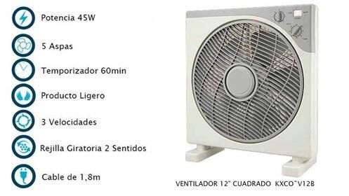 """Ventilador cuadrado 12"""" KXCO~V12B"""